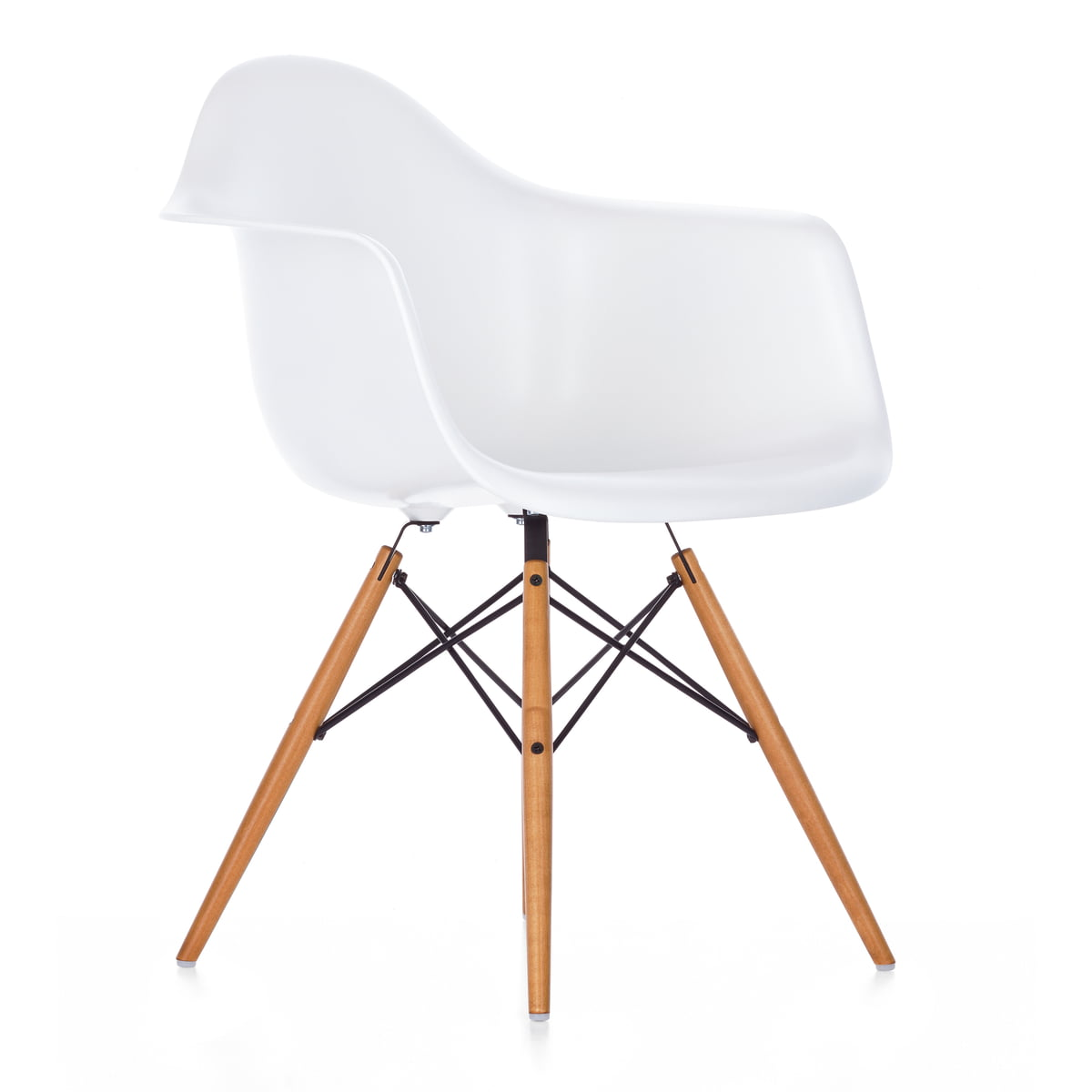 eames daw chair by vitra in our design shop - vitra  eames plastic armchair daw yellowish maple  white felt glides