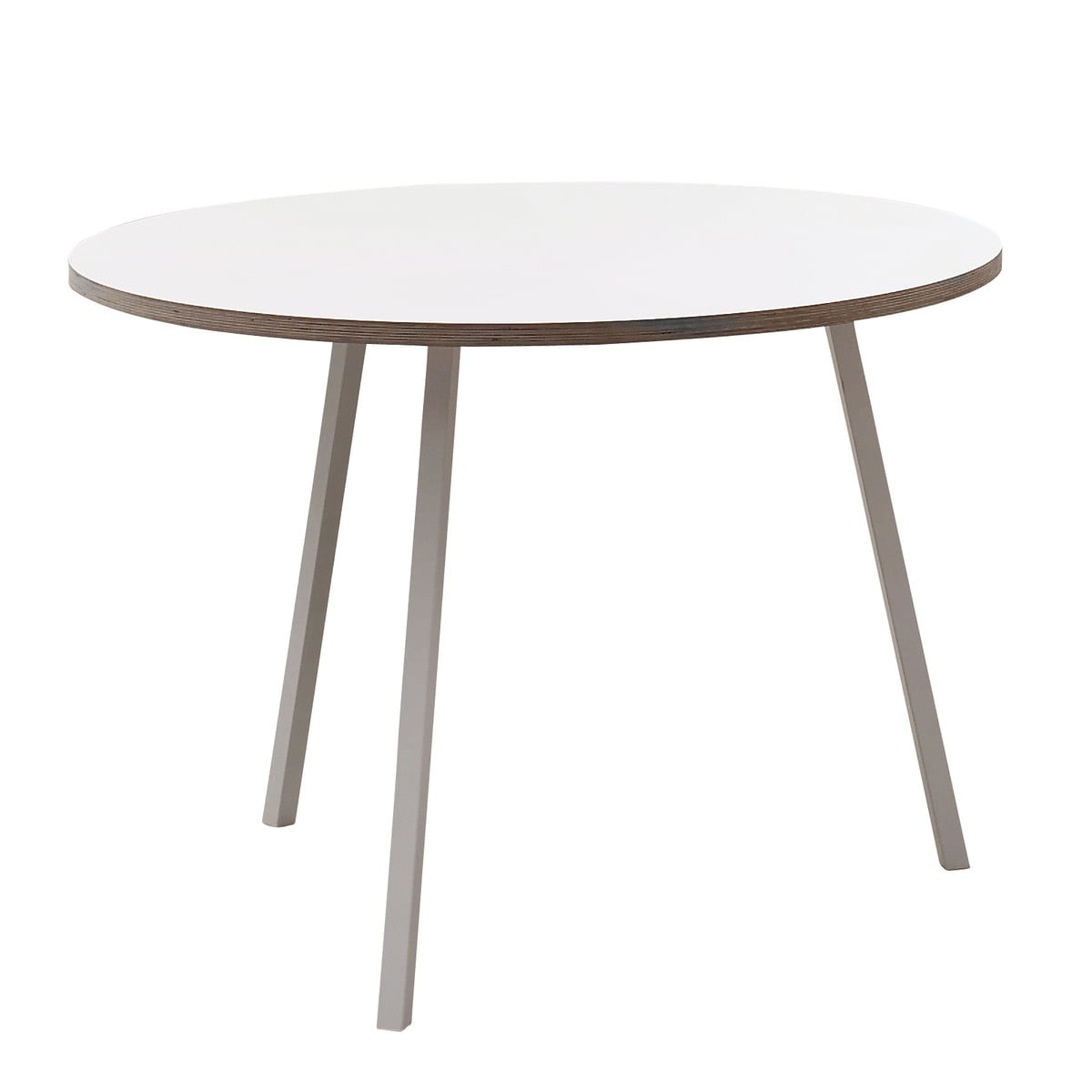 the round loop stand table by hay in the shop