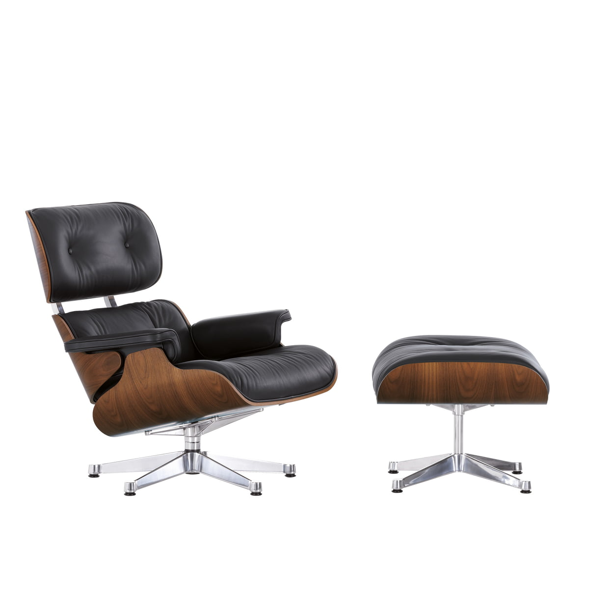 black vitra lounge chair in walnut in the shop - vitra  lounge chair  ottoman in walnut chromeplated