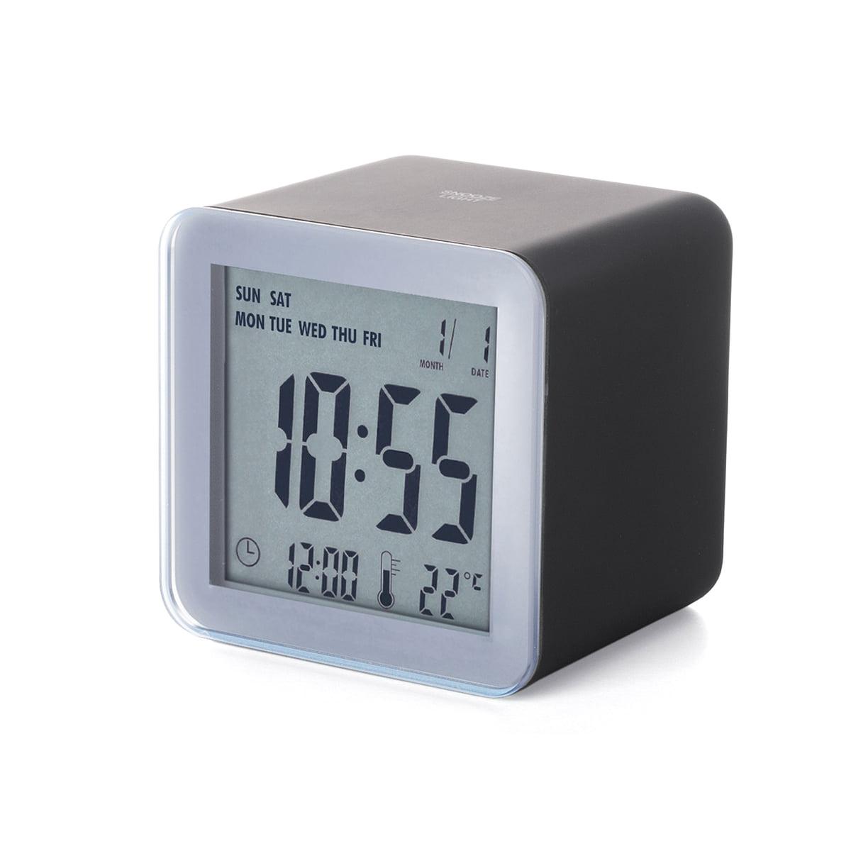 cube sensor lcd alarm clock  lexon  shop - lexon  cube sensor lcd alarm clock aluminium black
