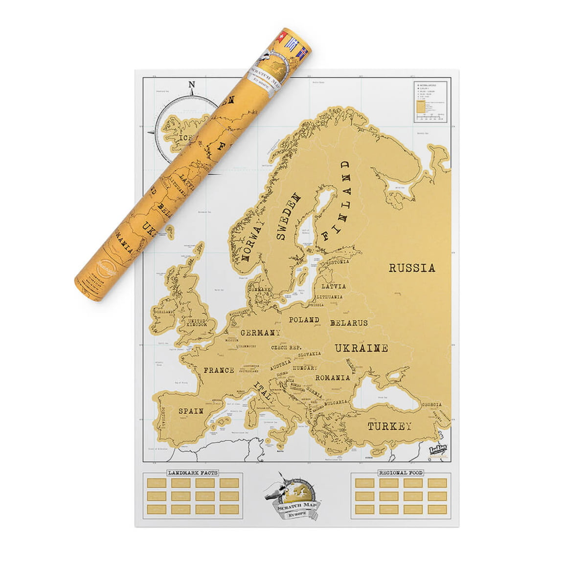 The Europe Scratch Map By Luckies In The Shop - Map us and europe
