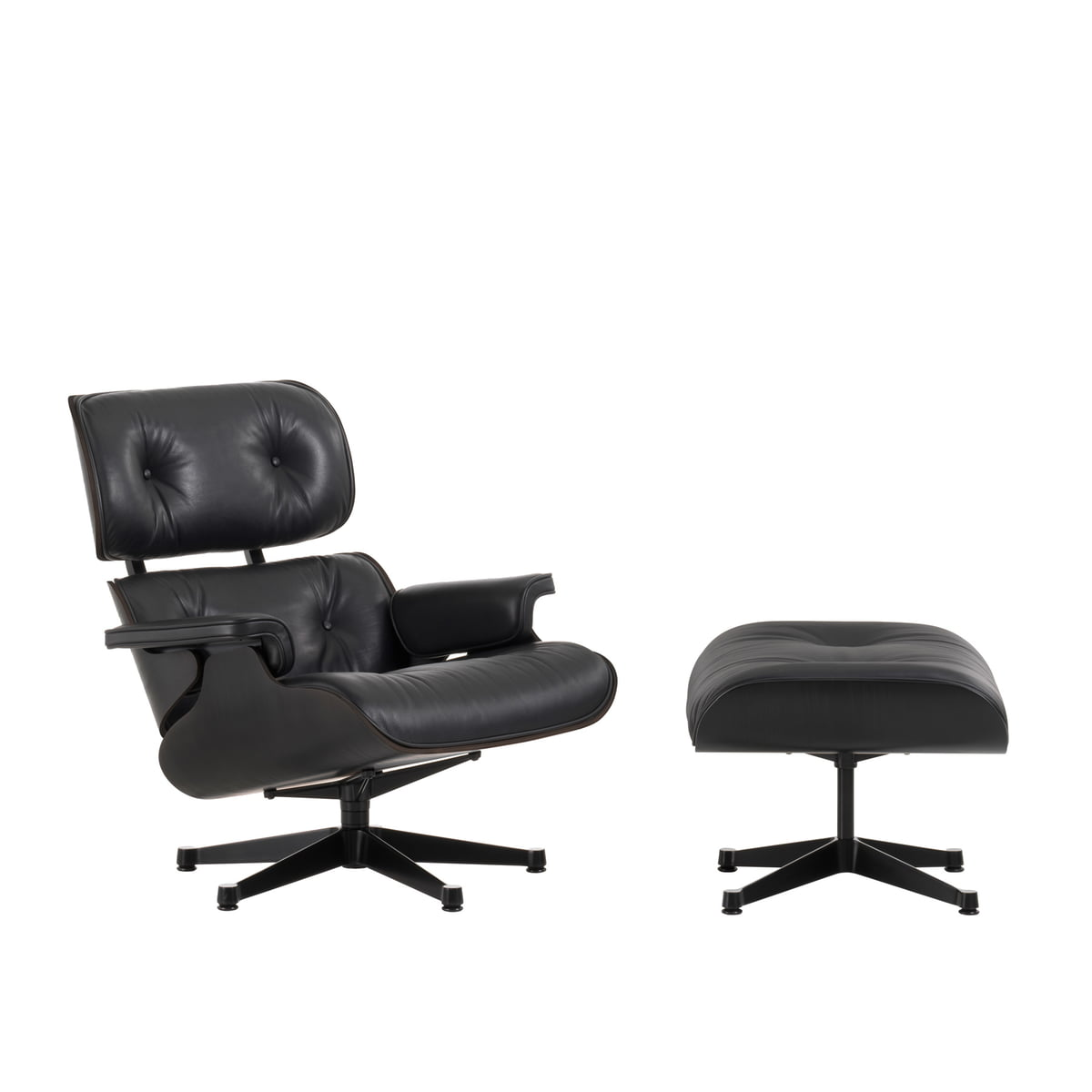 vitra lounge chair ottoman in black ash. Black Bedroom Furniture Sets. Home Design Ideas