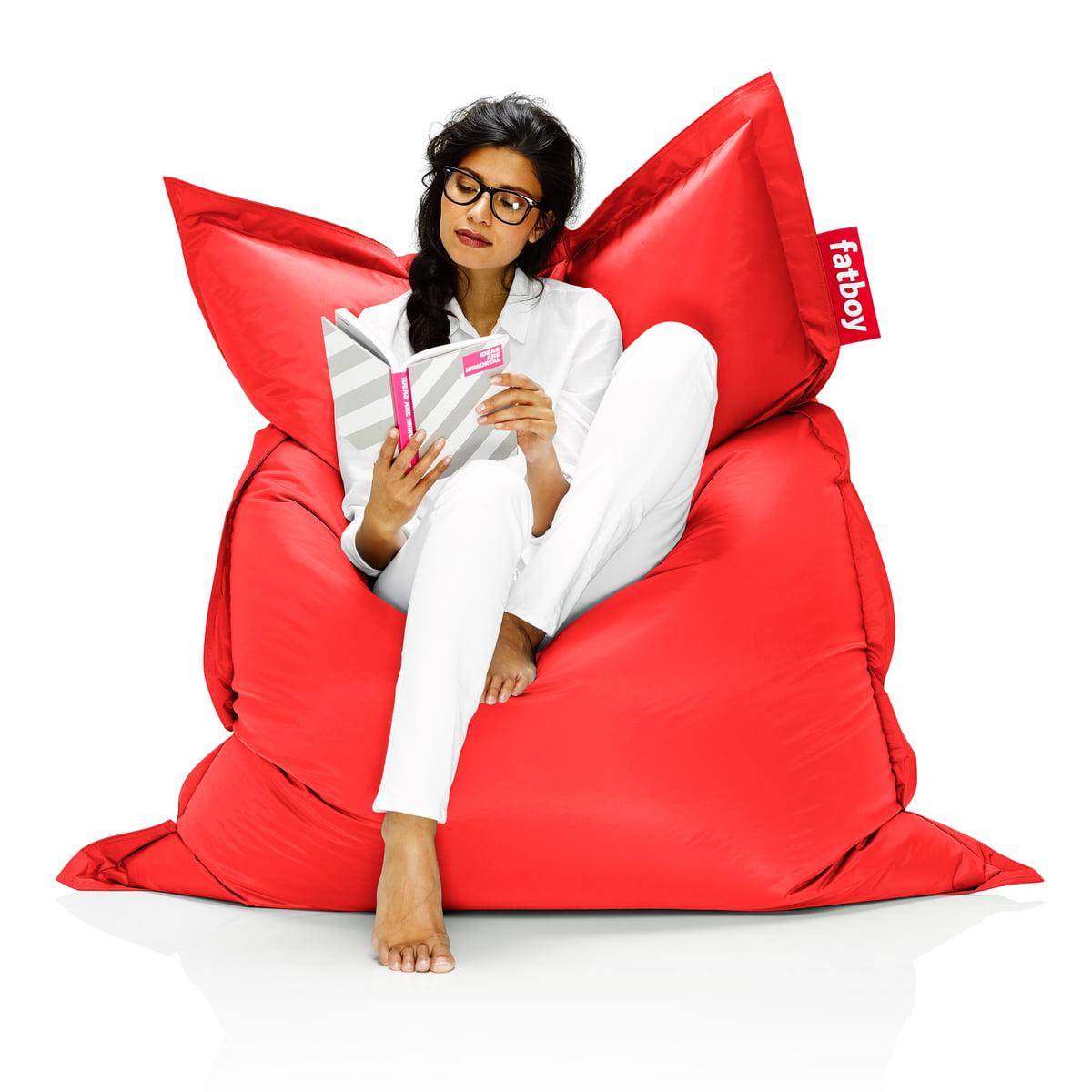 buy the fatboy original beanbag online  shop - fatboy original beanbag  situation with woman on beanbag red