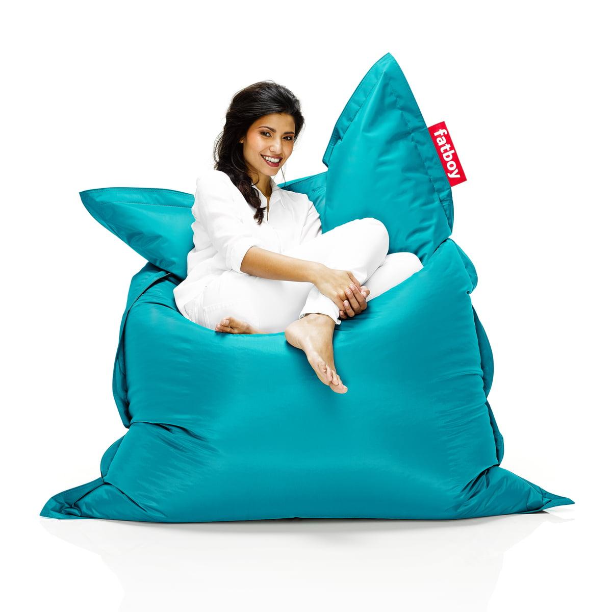 buy the fatboy original beanbag online  shop - fatboy original beanbag  situation with woman on beanbag turquoise
