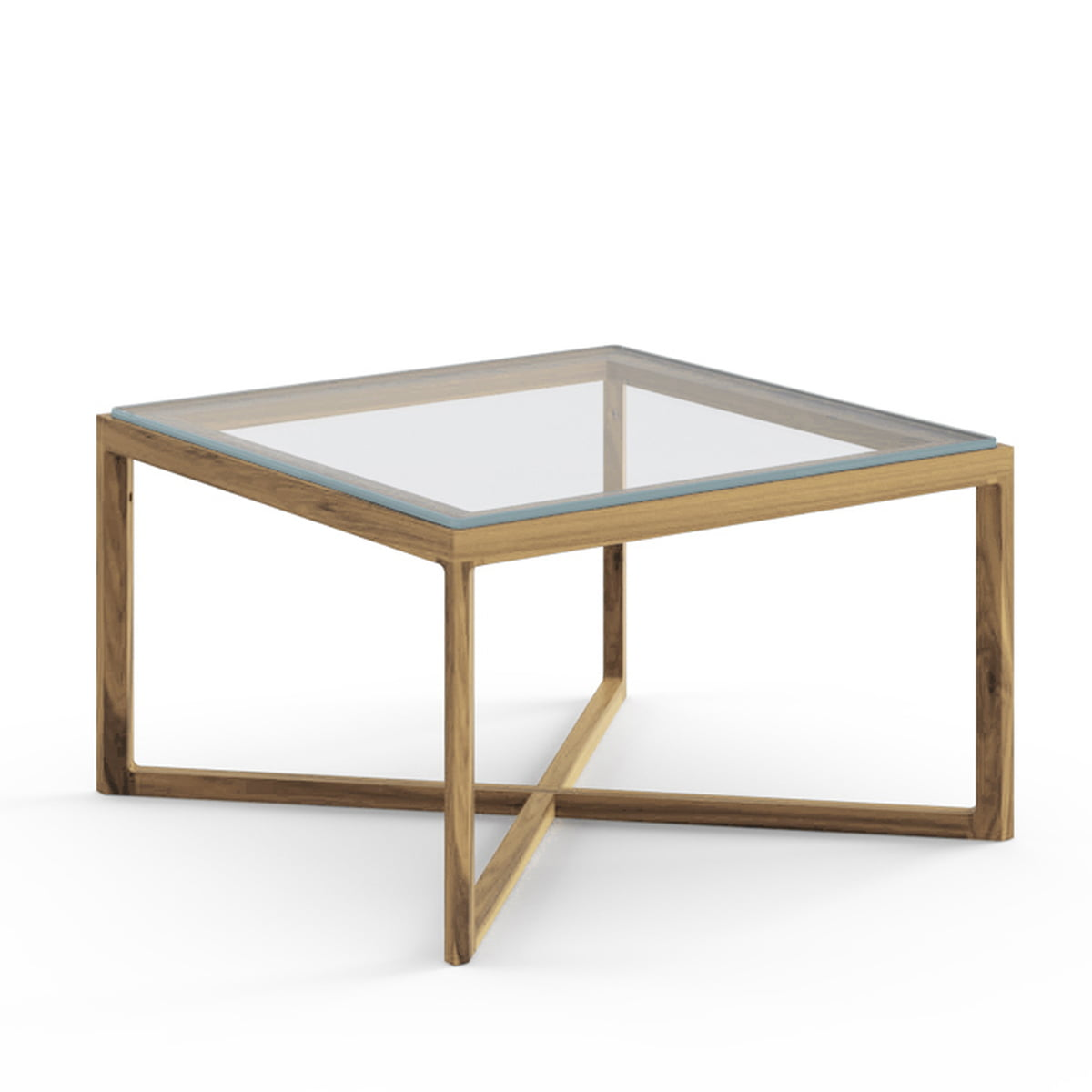 Knoll   Marc Krusin End Table, Oak, Clear Glass