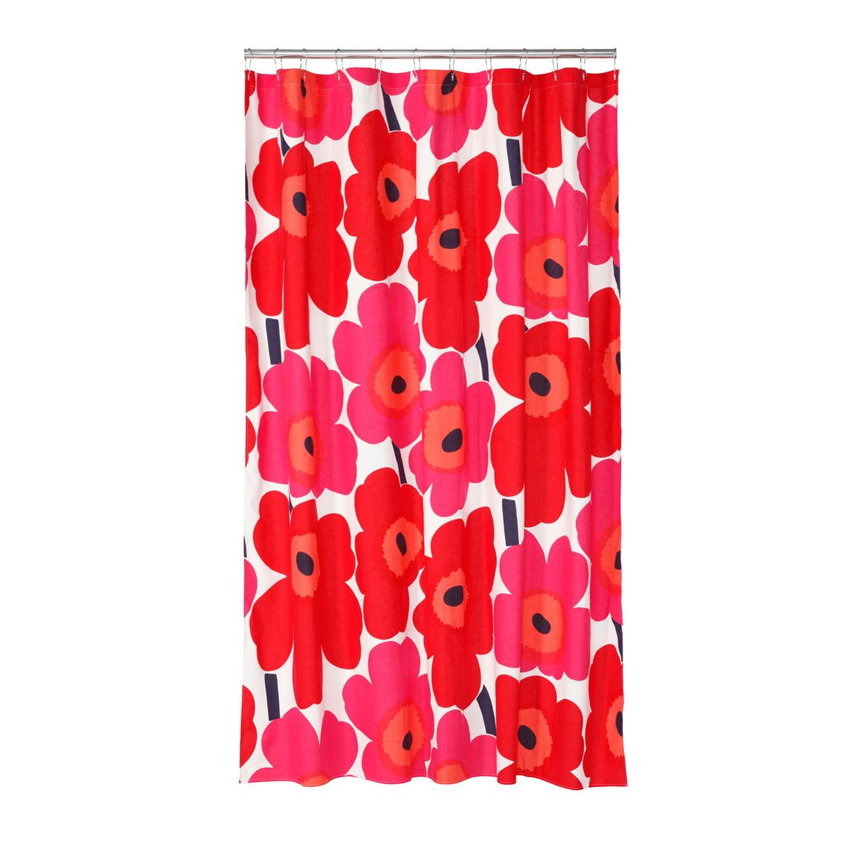 Marvelous Marimekko   Unikko Shower Curtain, White / Red