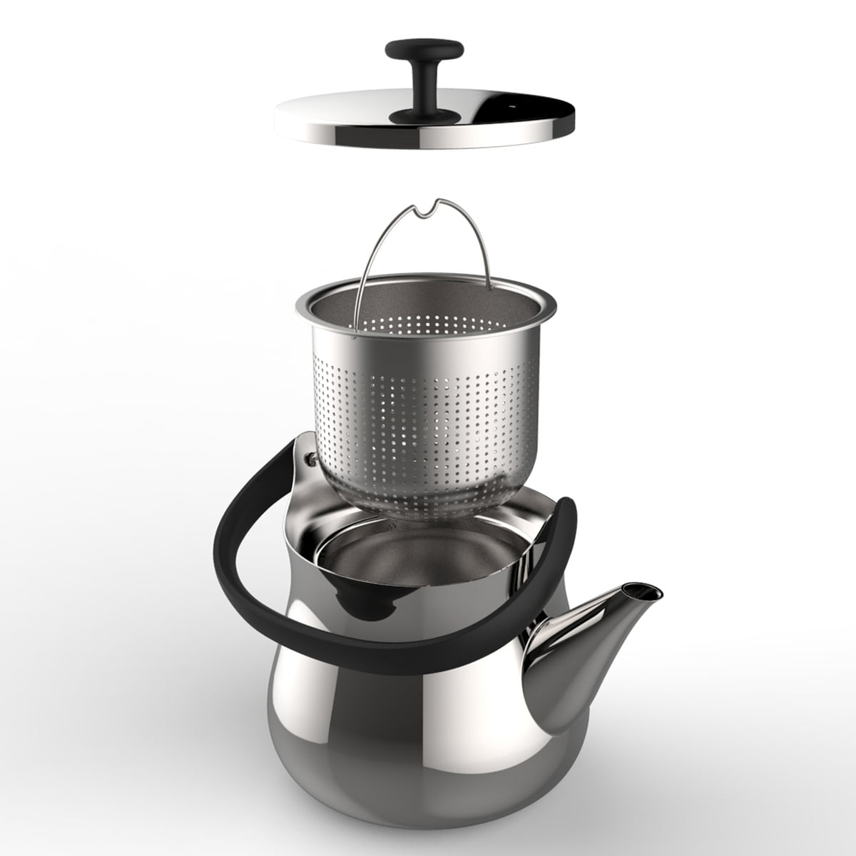 the cha kettle  teapot by alessi - alessi  cha kettle  teapot individual parts