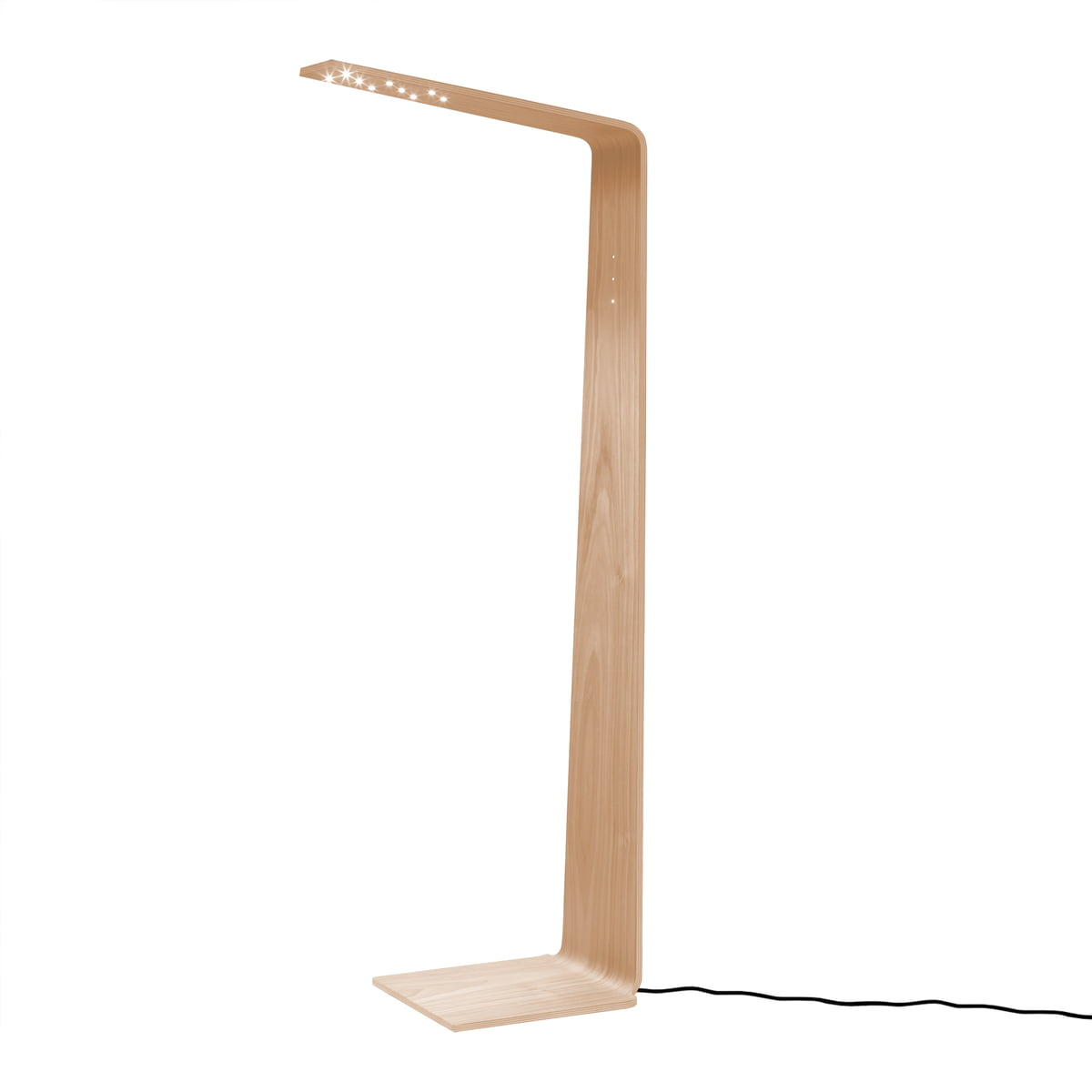 led 2 floor lamp by tunto in untreated oak wood