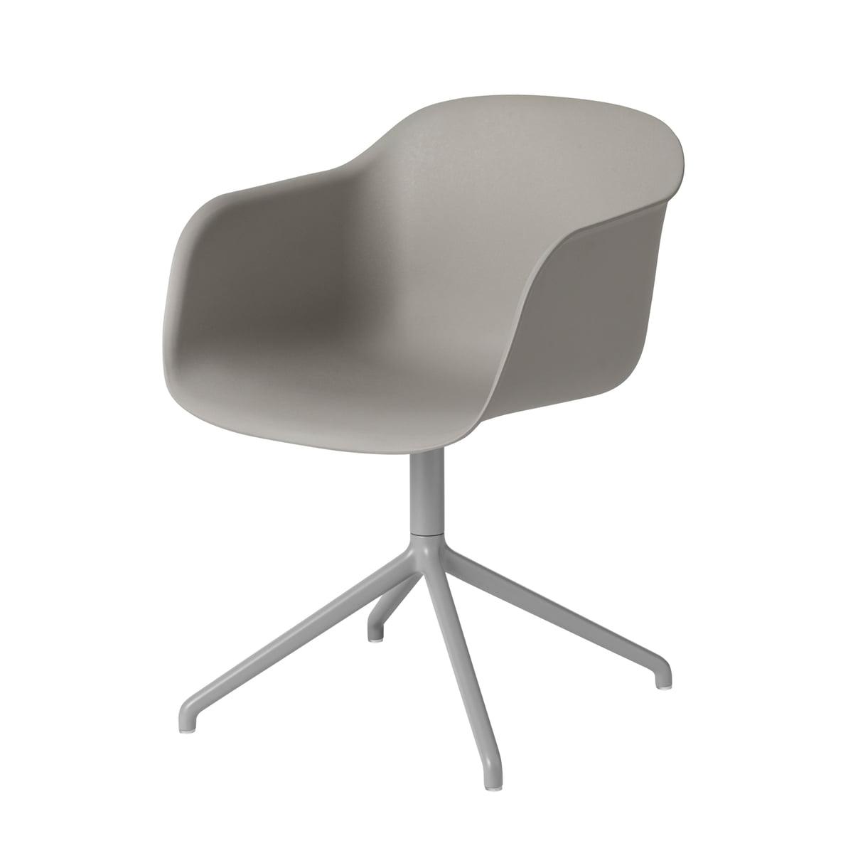 Delightful Muuto   Fiber Chair   Swivel Base, Grey / Grey