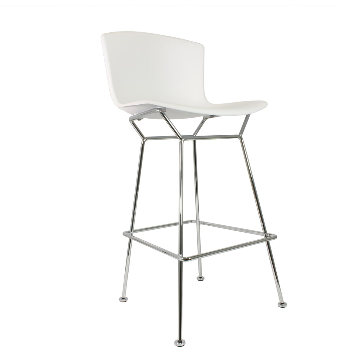 bertoia bar stool by knoll in the shop - knoll  bertoia plastic bar stool whitechrome plated