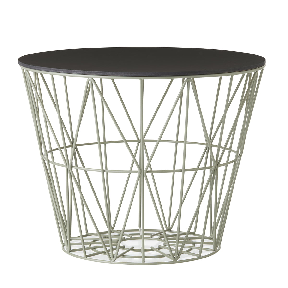Ferm Living   Wire Basket Top Small, Black Stained Oak
