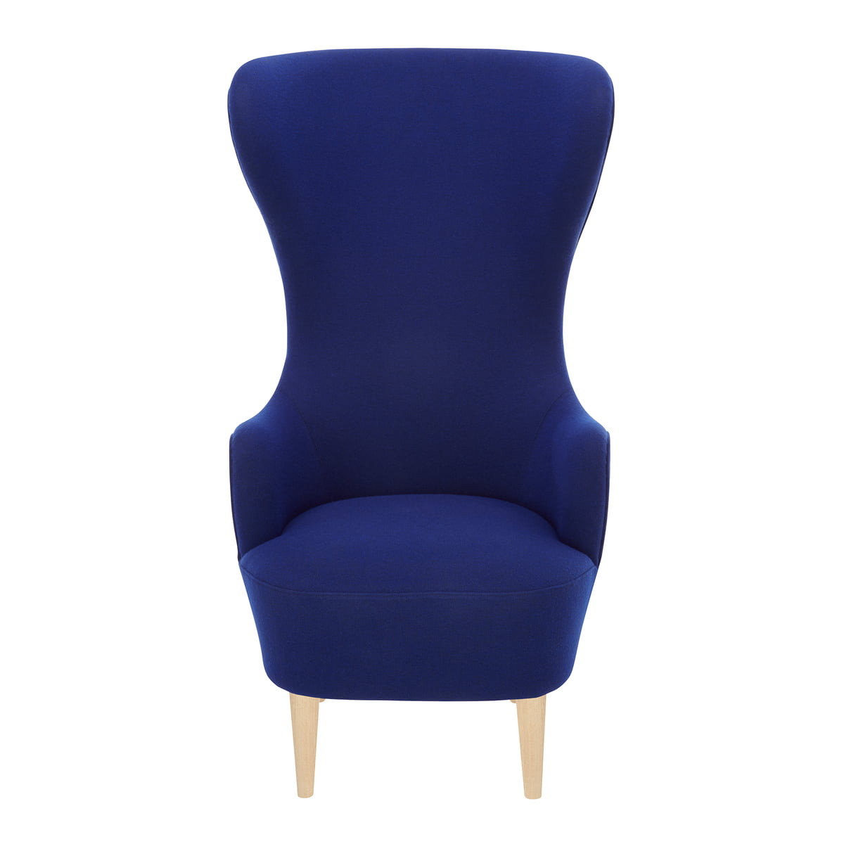 Wingback chair tom dixon - Wingback Chair By Tom Dixon In Oak With Upholstery In Blue