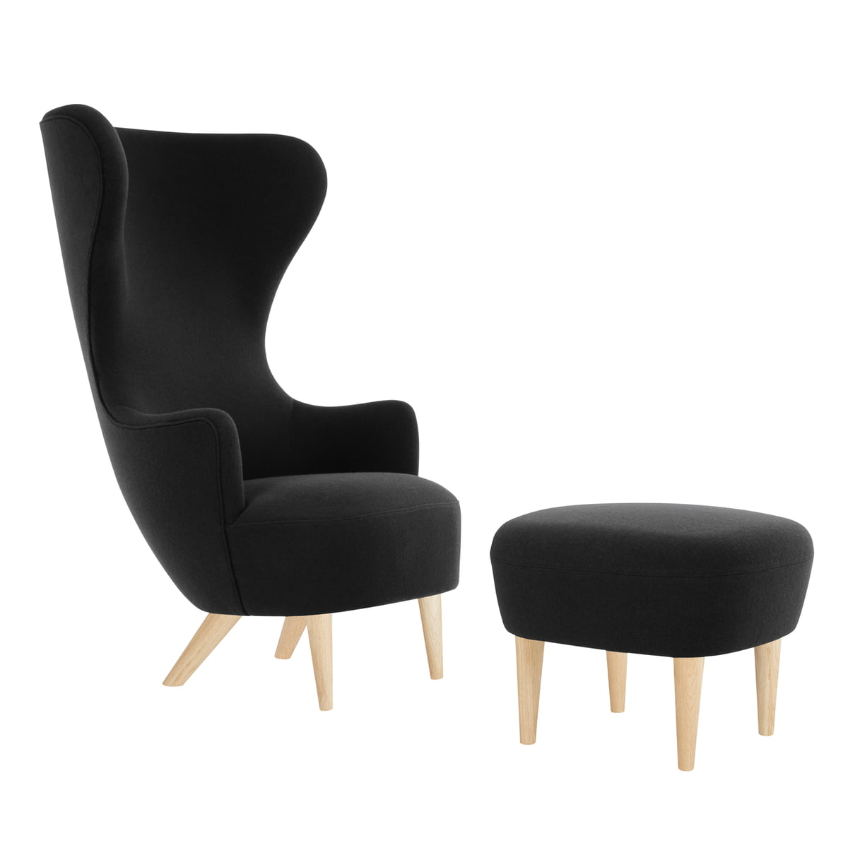Wing chair with ottoman - Wingback Chair With Ottoman By Tom Dixon In Oak With Upholstery In Black