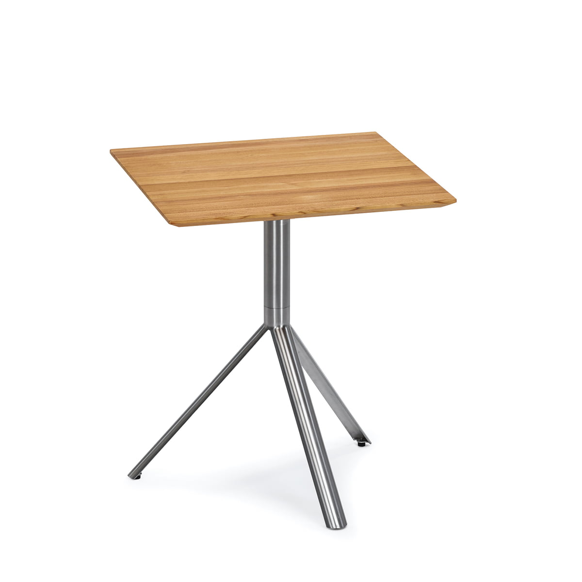 Round Trio Bistro Table 60 X 60cm By Weishäupl Out Of Stainless Steel And  Teak Wood