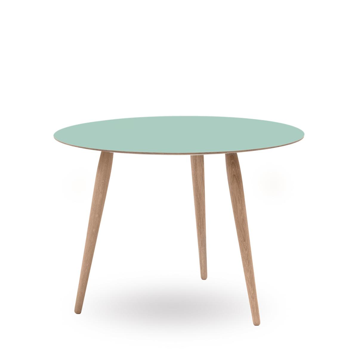 Play Round Laminate Side Table Ø 90 Cm By Bruunmunch In Dusty Jade / Oak  White