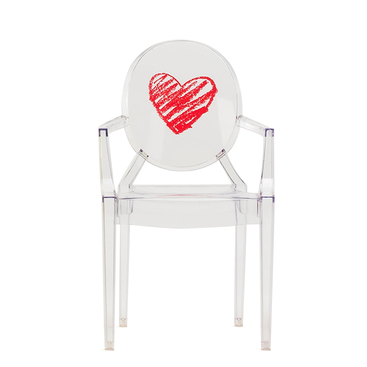 children's chair lou lou ghost by kartell in the shop - lou lou ghost children's chair by kartell in transparent  heart