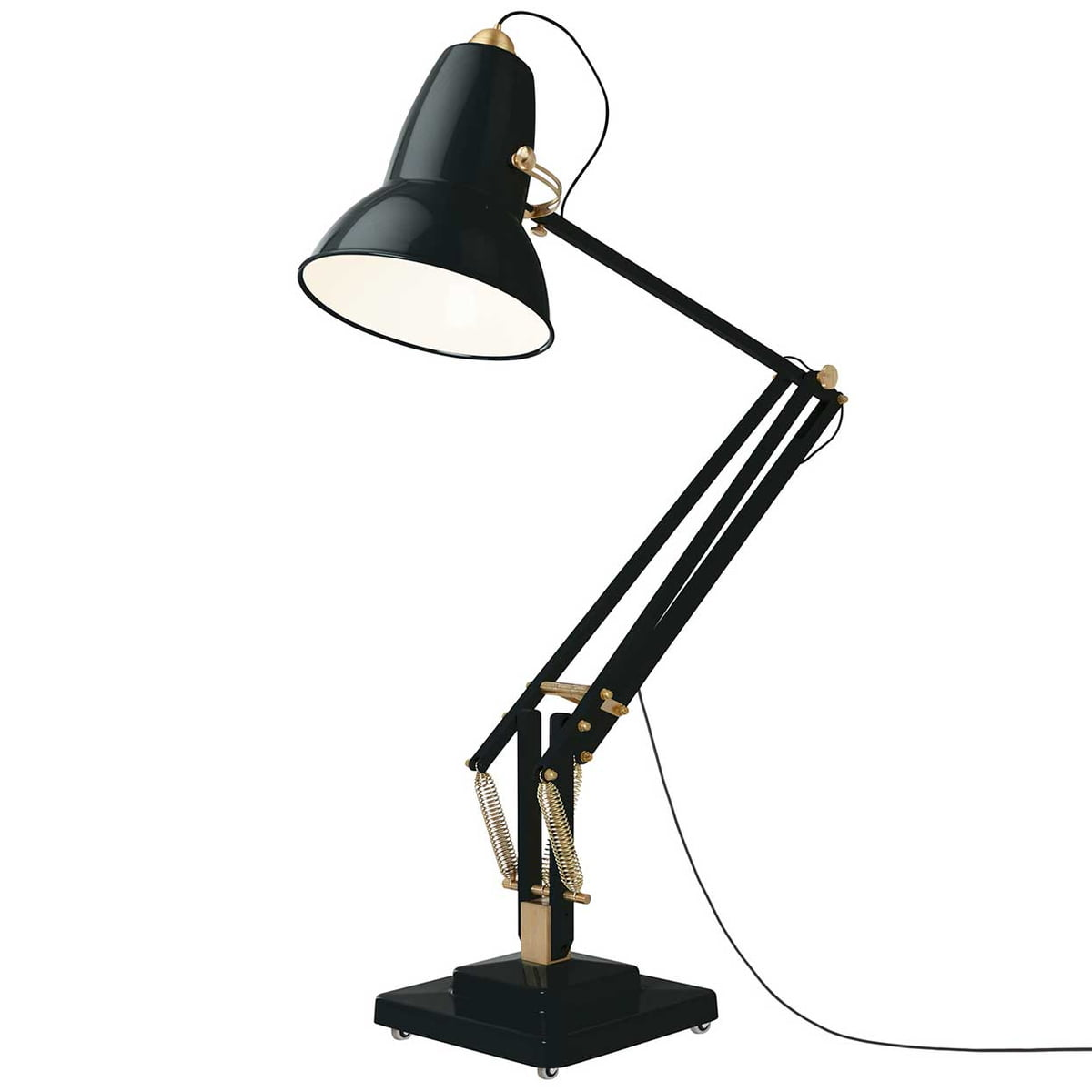 original giant brass floor lamp cable black deep slate by anglepoise