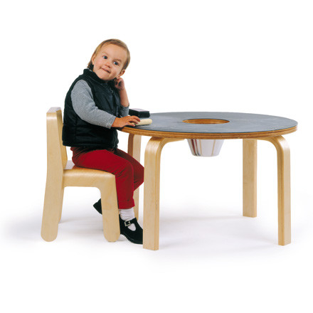 Offi - Woody Chalkboard Table with Child sitting on a Look Me Children's Chair
