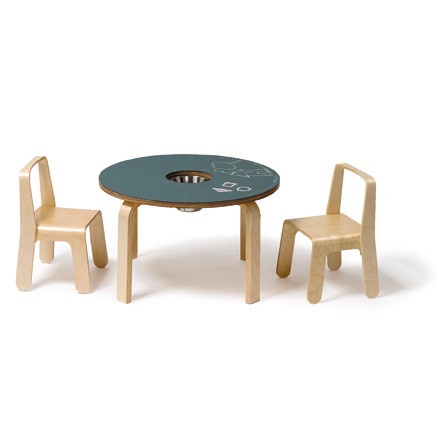 Offi - Woody Chalkboard Table with 2 Look Me Children's Chairs