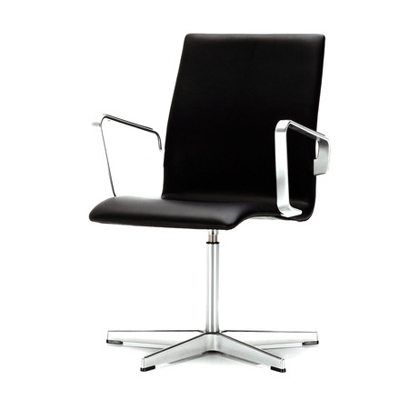 black leather, low back, arm rests, rotatable