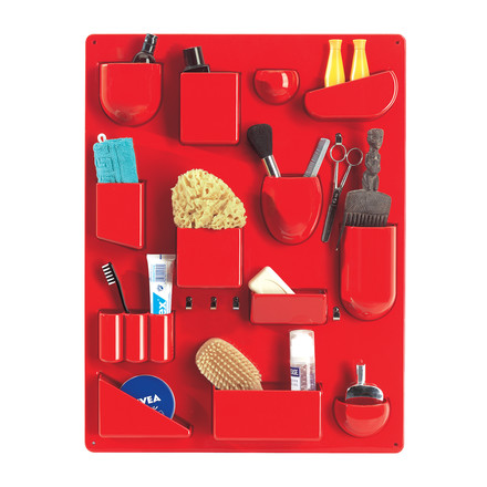 The red Uten.Silo II by Vitra filled with household accessories