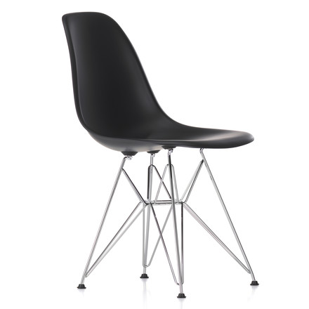Vitra - Eames Plastic Side Chair DSR, chromed / basic dark, felt glides black