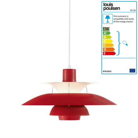 PH 50 pendant lamp, chilli-red