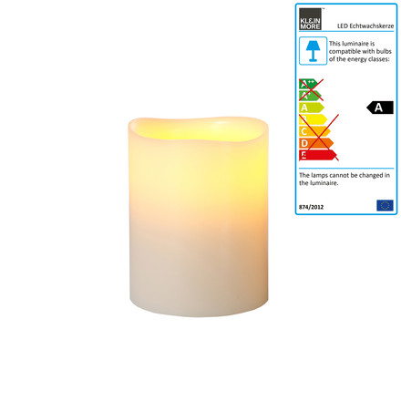 LED rure wax candle, ivory, medium