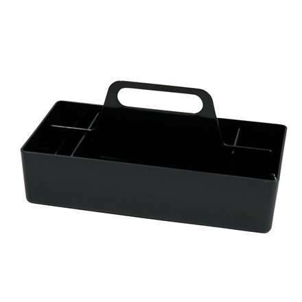 Single imageSingle image of the Storage Toolbox in basic dark by Arik Levyl for Vitra. The Storage Toolbox is a practical organization tool for your office or home: store working material, accessories and private items inside of it and stowe in the cupboard, shelf or trolley with only one handle.