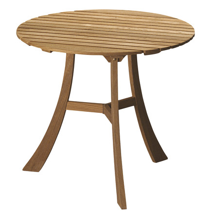 Single image of the three-legged Skagerak Vendia Table. The teak wood table is suitable for indoor and outdoor use, has a height of 68 cm and a diameter of 75 cm.