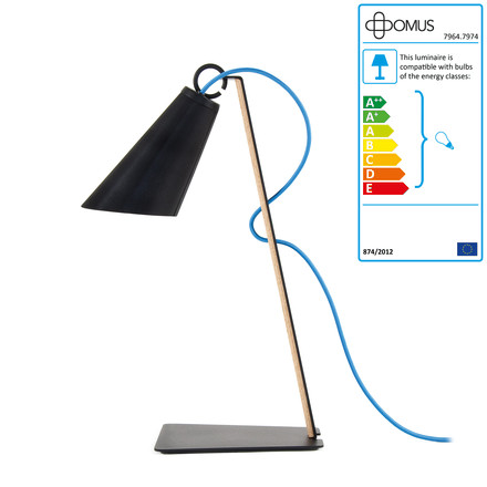 Single image: Pit Table Lamp - oiled oak / black / blue cable
