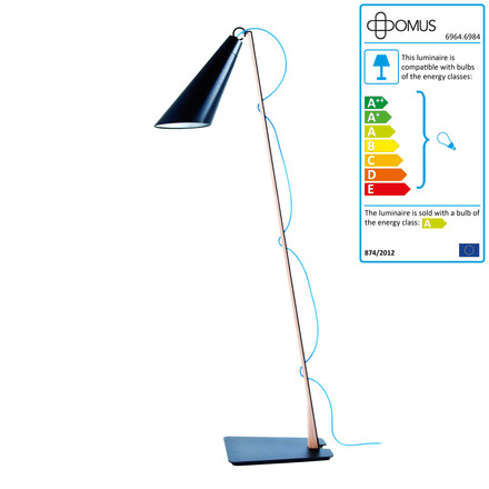 Single image: Pit Reading Lamp - oiled oak / black / blue cable
