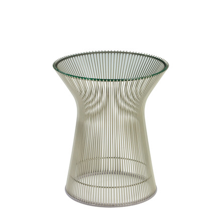 Platner Side Table - Nickel polished / Crystal glass