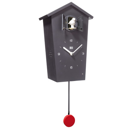 KooKoo - Bird House Cuckoo Clock black, bird white, pendulum red
