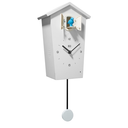 KooKoo - Bird House Cuckoo Clock white, bird blue, pendulum white