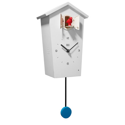 Single image of the Bird House Cuckoo Clock in white with red bird and blue pendulum by KooKoo. The wall clock is manufactured of matt lacquered MDF and needs 2 batteries (LR20 D Mono 1.5V) which are not included in the delivery.