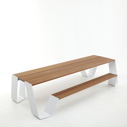 Extremis - Hopper table, white / HOT wood