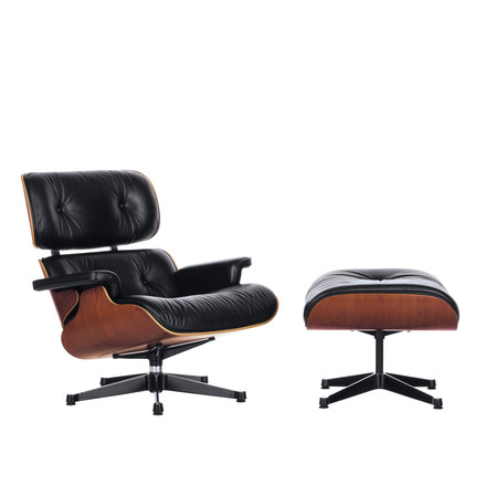 Vitra Lounge Chair & Ottoman - cherry wood