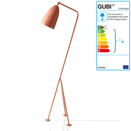Gubi - Gräshoppa Floor Lamp GM1, red (vintage red)