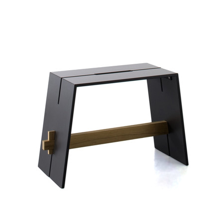 Conmoto - Tension side table & stool anthracite / black / teak