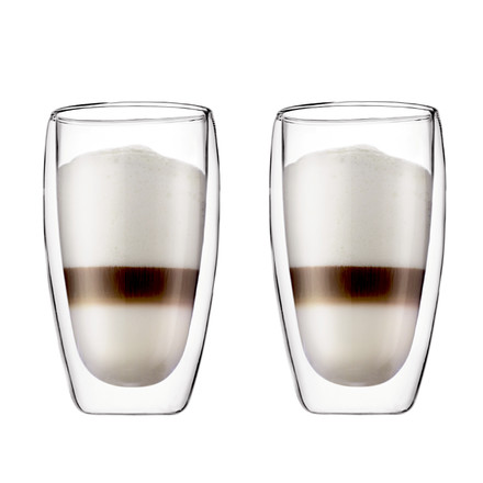 Single image of the Pavina, 0.45 l drinking glasses in a set of 2 by Bodum. The Latte Macchiato Glasses are double walled and keep drinks either cool or hot for a longer time.