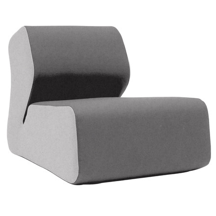 Softline - Hugo lounge chair, felt light gray / dark gray (620), single image