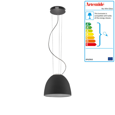 Artemide - Nur mini pendant light, anthracite gray