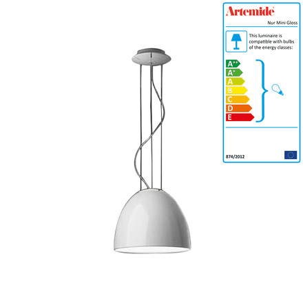 Artemide - Nur Mini Gloss Pendant lamp, halogen lamp, white