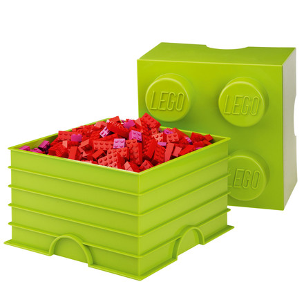Lego - Storage Box 4, light green, single image - with small red Lego bricks