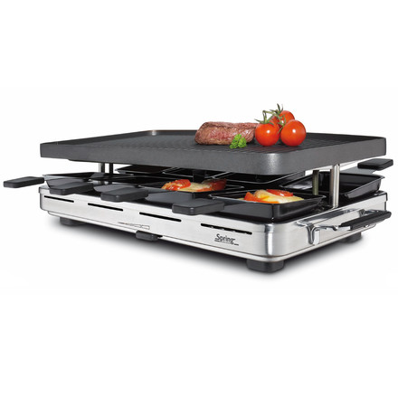 Spring - Raclette 8 with alu BBQ-surface, steel