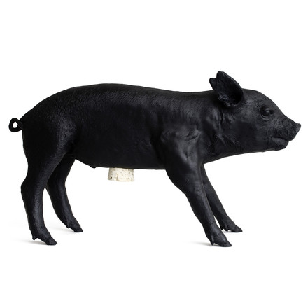 areaware - Pig piggy bank, matt black, single image