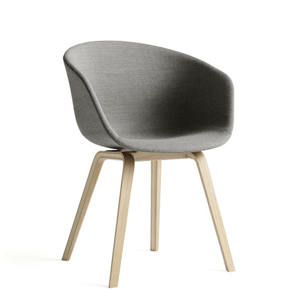 Hay - About a Chair AAC 23 padded, wooden legs base / seat, gray Remix (133), single image