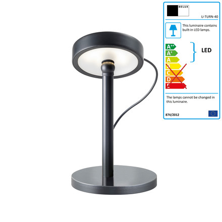 Belux - U-Turn table lamp, LED, black, black, single image