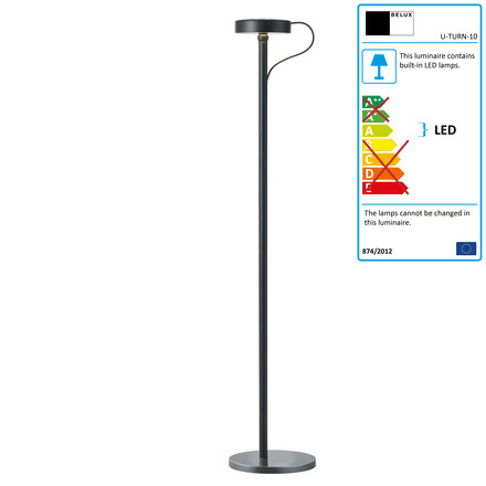 Belux - U-Turn floor lamp, LED, black, black, single image